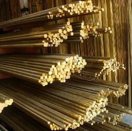 Customized Length Alloy Solid Brass Rod , Anti Corrosive C3601 Brass Round Bar ISO 9000